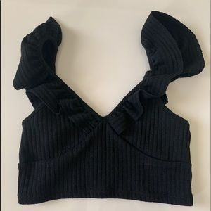 rubbed urban outfitters small crop top w ruffles